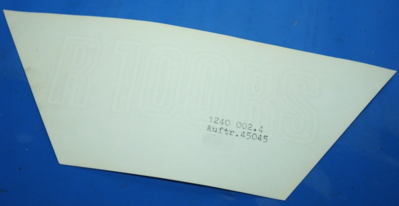 Aufkleber R100RS weiß -9/80 Batterieabdeckung