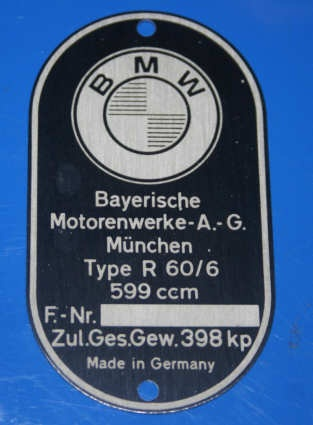 Typenschild R60/6 am Rahmen