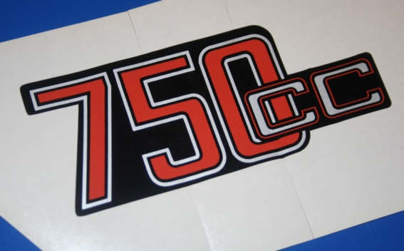 Aufkleber 750cc R75/6 silber/rot f.Batterieabdeckung