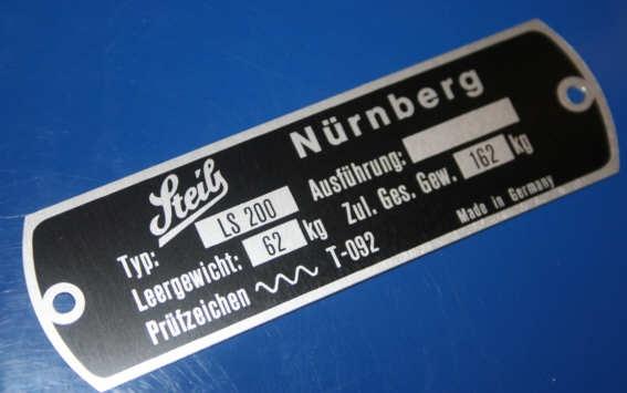 Typenschild für LS200 am Rahmen Steib