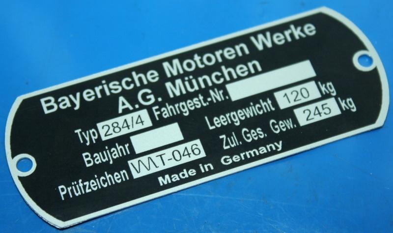 Typenschild für TR500 BMW Ausführung am Rahmen Steib
