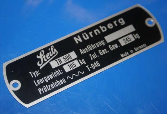 Typenschild für TR500 am Rahmen Steib