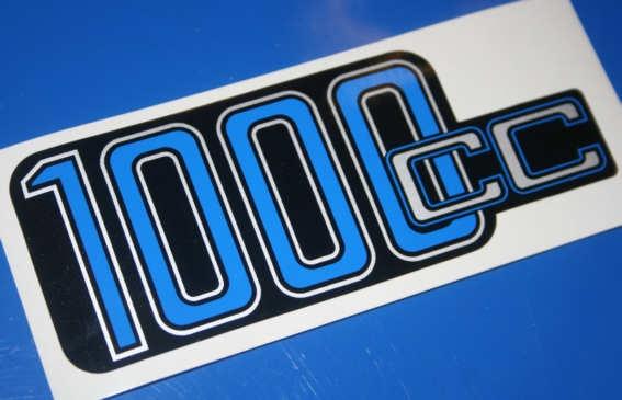 Aufkleber 1000cc R100 Batterieabdeckung silber/blau