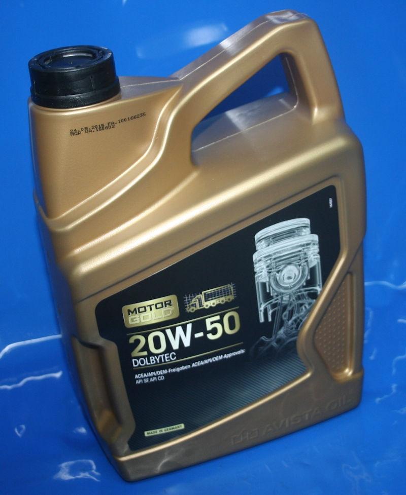 Motoröl 20W50 Motorgold aus Kanister 5 Liter