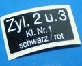 Aufkleber Zündspule K100 2+3 groß ca.22x36mm